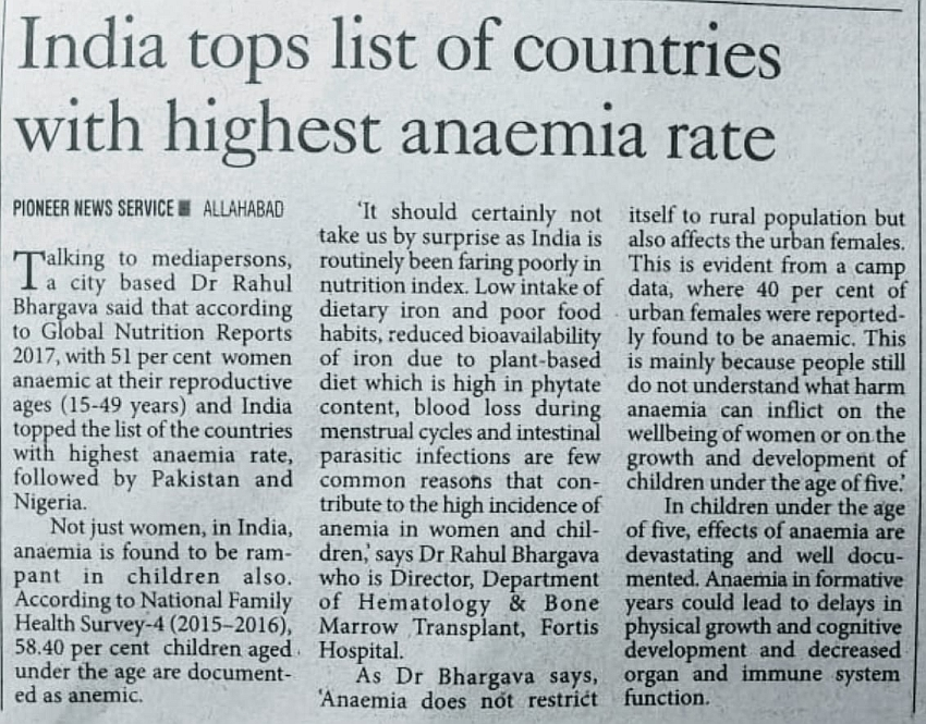 India Tops List of Countries With Highest Anaemia Rate
