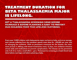 Treatment Duration For Beta Thalassaemia Major Is Lifelong